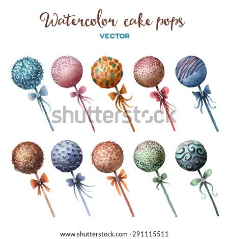 vector watercolor cake pops set