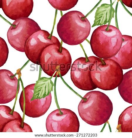 vector watercolor cherry