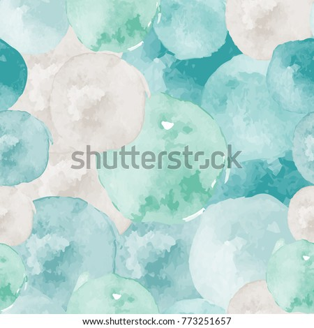 Vector watercolor circles seamless pattern (tiled).  Hand drawn circles ornament. Round shapes pattern. Round shapes. Painted ornament. Grunge colorful rounds shapes.