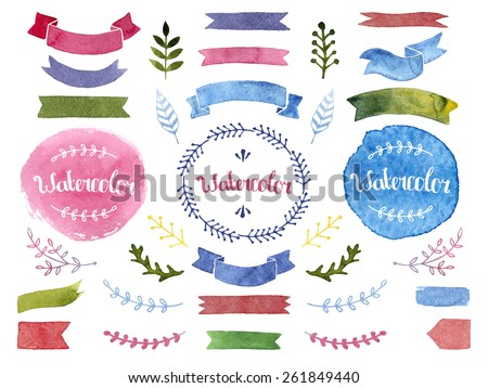 Vector watercolor collection with ribbons, label, floral, feathers. Hand drawn design elements isolated on white background