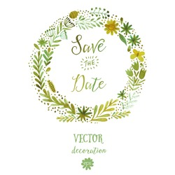 Vector watercolor colorful circular floral wreaths with summer flowers and central white copyspace for your text. Vector handdrawn sketch of wreath with flowers. Save the date