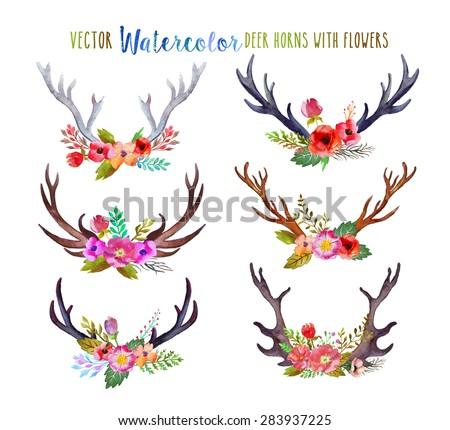 vector watercolor deer horns...