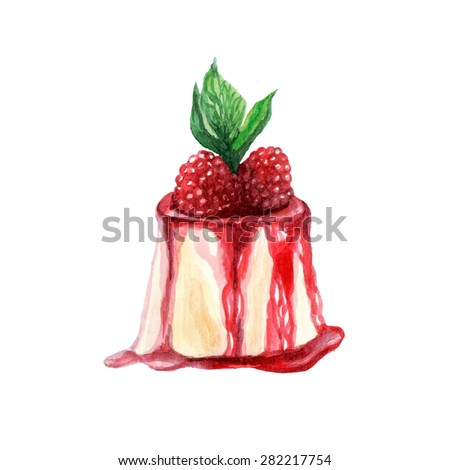 vector watercolor dessert. It can be used for card, postcard, cover, invitation, wedding card, mothers day card, birthday card.