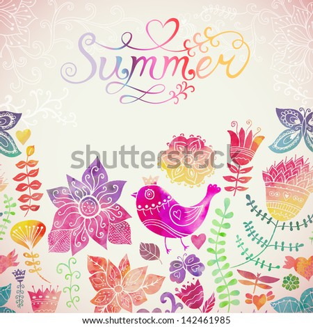 "Vector watercolor floral greeting card with ""Summer"" lettering. Vintage retro background with floral ornament You can design cards, notebook cover and so on. Spring theme background."