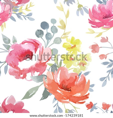 vector watercolor  floral