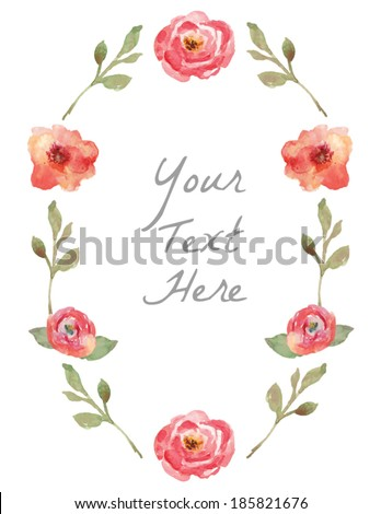 Vector Watercolor Floral Wreath With Hand Painted Leaves. Watercolor Leaf Branch Wreath. Text Frame Wreath. Vector Wreath