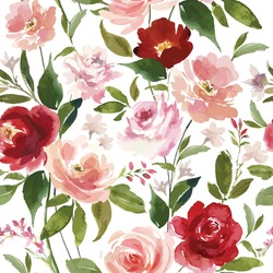 Vector watercolor flower continuous, seamless watercolor flower, floral pattern,  flowing repeat pattern, pink and red floral