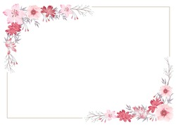 Vector watercolor flower frame with text space.