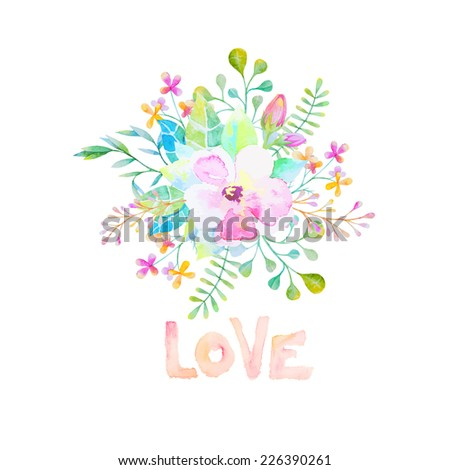 vector watercolor flower with