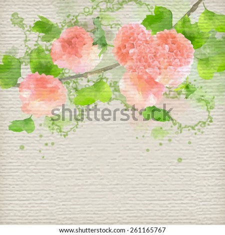 Vector Watercolor Flowers Hydrangea on textured paper background. Creative floral greeting card
