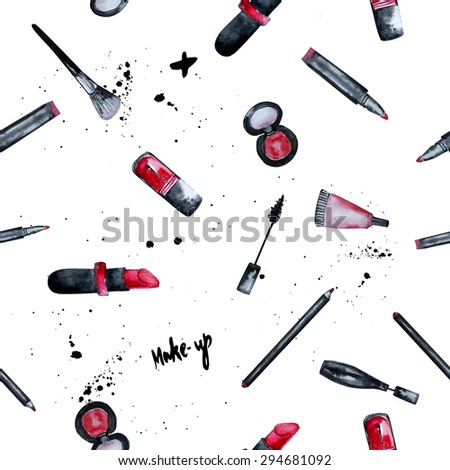 Vector Watercolor Glamorous Makeup Seamless Background With Nail Polish And Lipstick.Creative ...