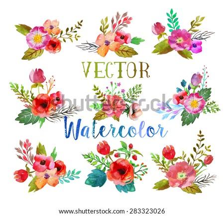 Vector watercolor hand drawn  buttonholes with colorful flowers and leaves. The art paint on white background