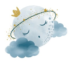 Vector watercolor hand drawn illustration of a cute moon, sleeping on the clouds.