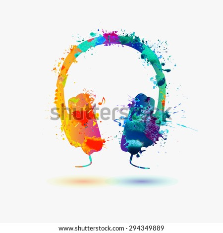vector watercolor headphone