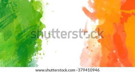 vector watercolor irish flag