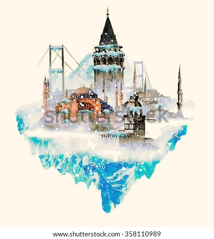 vector watercolor istanbul city