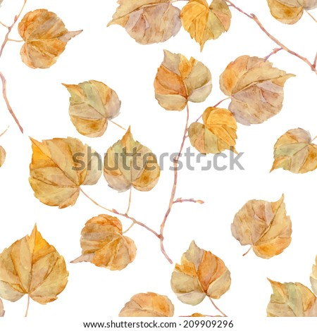 Vector watercolor leaf Vintage template Herbarium Isolated on white Autumn seamless pattern with leaf Autumn theme