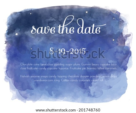 Vector Watercolor Night Sky with Constellations, Stars, and Save the Date Text