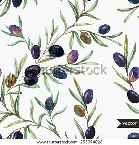 vector  watercolor  olive