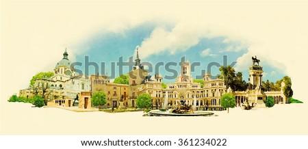 vector watercolor panoramic