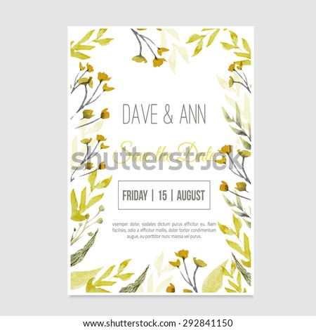 vector watercolor save the date