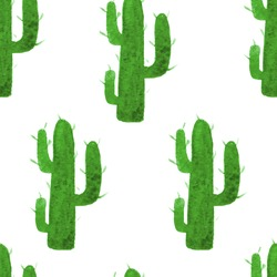 Vector watercolor seamless pattern with hand drawn cactus. Nature ornament. Original background with green cacti.