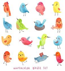 Vector watercolor set  Cute birds