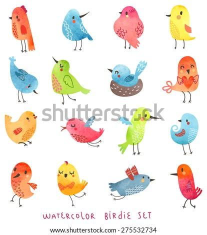 vector watercolor set  cute