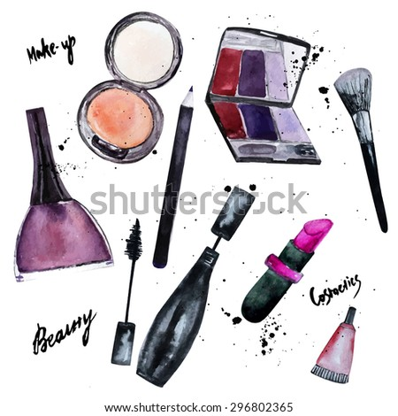 Vector watercolor set of Glamorous makeup set of  cosmetics with nail polish and lipstick.Creative design for card, web design background, book cover.EPS10.