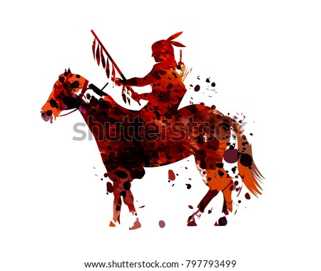 Vector watercolor silhouette of an american indian