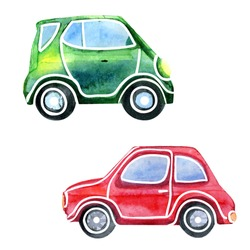 Vector watercolor sketchy illustration of two bright cars. Hand drawn isolated automobiles on white background.