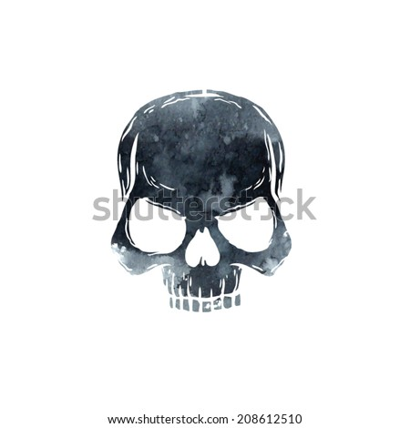 vector watercolor skull