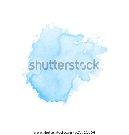 Vector watercolor splash texture  background isolated. Hand-drawn blob, spot. Watercolor effects. Blue winter seasonal colors abstract background.