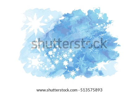 Vector watercolor splash texture. Hand-drawn blob, spot. Winter Christmas and New Year xmas theme. Blue colors abstract background. Snowfall. Silhouettes of snowflakes. Winter seasonal texture.