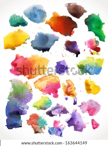 Vector watercolor  splashes, isolated.