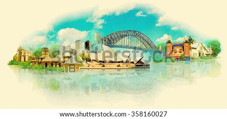 vector watercolor sydney city...
