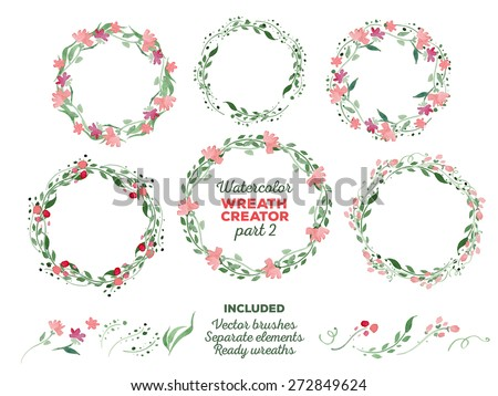 vector watercolor wreaths and