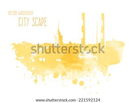 vector watercolor yellow city