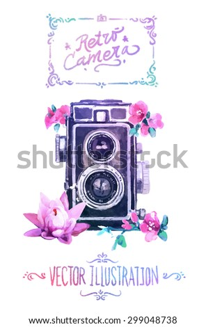 vector watercolour camera with