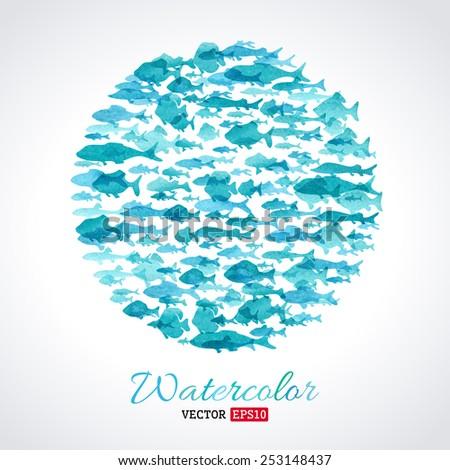 vector watercolour fish