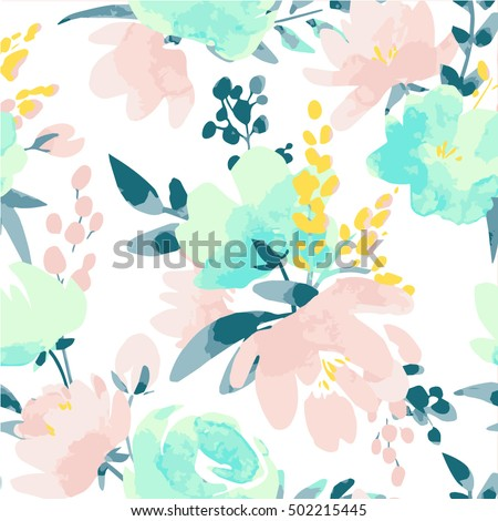 Vector watercolour floral pattern, delicate flowers, yellow, blue and pink flowers, greeting card template