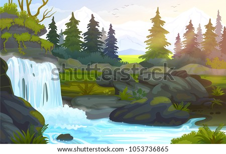 Vector waterfall in the mountains, morning spruce forest landscape.