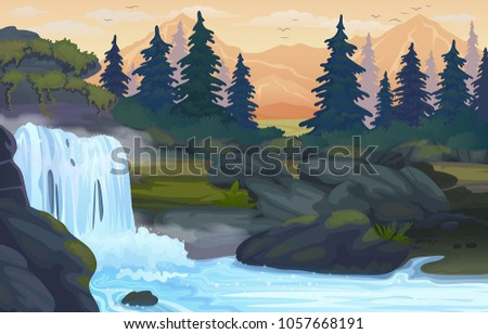 vector waterfall in the