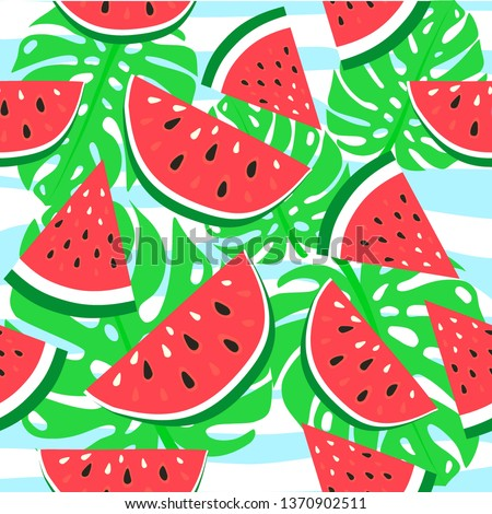 Vector watermelon background with black seeds. Seamless watermelons pattern. Vector background with watercolor watermelon slices. Cute seamless vector pattern with watermelons.