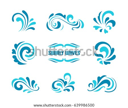 Vector wave icons, set of simple swirls and splashes, curly shapes on white, decorative elements for logo design