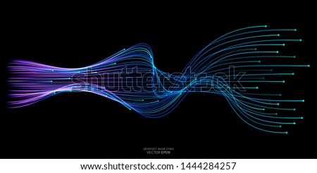 Vector wave lines flowing dynamic in blue green colors isolated on black background for concept of AI technology, digital, communication, science, music