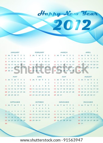 vector wave style new year calender design
