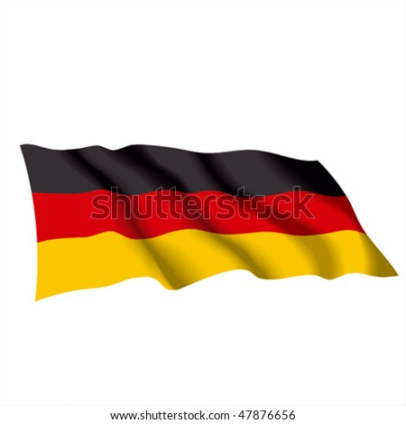 Vector waving color flag of Germany. Can be used for design as a background or texture.