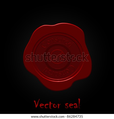 vector wax seal with  the word Censored