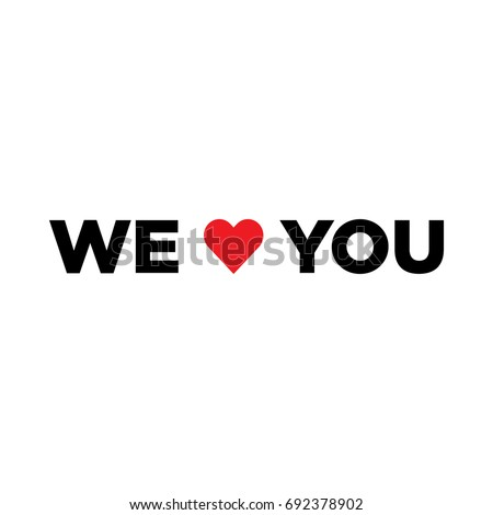 vector we love you with heart